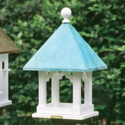 Lazy Hill Farms Blue Verde Copper Roof Square Bird House - Add visual appeal to your garden and a cozy home for eight bird families with the Lazy Hill Farms Blue Verde Copper Roof Square Bird House. Not just decorative, the weathered copper roof of this bird house is removable for easy cleaning and it includes eight perches and compartments inside. The classic square house is made of white, solid cellular vinyl that has the look of genuine wood without the maintenance.About Lazy Hill Farm Designs Lazy Hill Farm Designs is a leader in garden and birding accessories. They are known for turning exquisite designs into exceptional quality garden accessories. All Lazy Hill Farm products are made of solid cellular vinyl that looks and feels like genuine wood yet requires no maintenance. All the roofs are removable for easy cleaning and each one is handcrafted in America. These are among the finest garden accessories on the market.