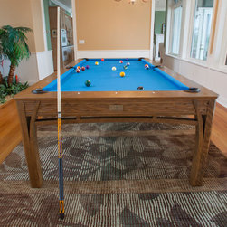 Tropical Bahama Beach Island House Dining Pool Table - Portfolio Majestic Group Luxury Installation of custom designed Tropical Dining Billiard Table.  Available in standard wood and upgradable to select woods of your choice.  We are able to stain match at no additional charge.  Coordinating Pool table with the Bahama Beach House Products.