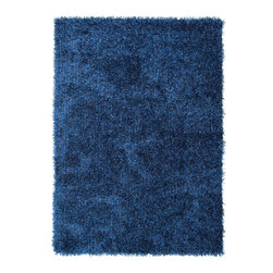 Jaipur Rugs - Blue Solid Pattern Shag Rug - FL14, 3.6x5.6 - Personal expression reaches new heights with Flux, a beautiful range of plush, hand-woven shag rugs of 100% polyester. This chameleon is ideal for the contemporary design lover who enjoys mixing up his or her personal space often acting as a rich background to a diverse palette of furnishings and accessories. Highly textured shag construction brings comfort underfoot while a palette of fashion forward solid hues commands attention in any room.