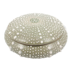 Sea Urchin Porcelain Round Box - Large - At first glance, the Sea Urchin Porcelain Round Box is a coastal specimen which offers intriguing bun shape and organic texture to your home but lift the lid to hide a treasure, and you'll see the artful sensitivity of the glazing that achieves this illusion. Perfect for accenting a bookshelf or for coyly hiding in a vignette of authentic seashells, this low-profile box holds a quantity of keepsakes.
