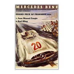Trademark Global - Mercedes Benz Framed Canvas Wall Art - Giclee canvas art. Traditional style. Subject: Vintage. Format: Vertical. Size: Extra large. Canvas material. 32 in. W x 47 in. H (11 lbs.)Giclee is an advanced printmaking process for creating high quality fine art reproductions. The attainable excellence that Giclee printmaking affords makes the reproduction virtually indistinguishable from the original artwork. The result is wide acceptance of Giclees by galleries, museums and private collectors.