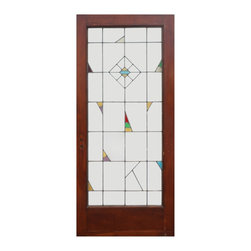 """Antique Doors - An unusual antique 36"""" American leaded glass entry door with stained glass details."""