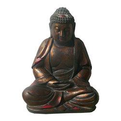 Golden Lotus - Chinese Golden Brown Wooden Meditation Buddha Statue - Chinese Golden Brown Wooden Meditation Buddha Statue