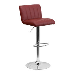 Flash Furniture - Flash Furniture Barstools Residential Barstools X-GG-GRUB-010211-HC - This designer chair will make an attractive statement in the home. The height adjustable swivel seat adjusts from counter to bar height with the handle located below the seat. The chrome footrest supports your feet while also providing a contemporary chic design. [CH-112010-BURG-GG]