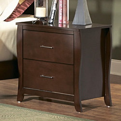 Homelegance - Homelegance Rivera 24 Inch Nightstand in Brown Cherry - Elegant in design  the Rivera Collection draws your attention with the subtle hourglass shape. Both veneered bed and upholstered bed with dark brown vinyl insert are available. The warm brown cherry finish on select hardwoods and veneers accented with satin nickel hardware brings this offering as the best soft contemporary has to offer.