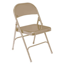 National Public Seating - National Public Seating 50 Series Standard All-Steel Folding Chair in Beige - This is National Public Seating's standard all-steel folding chair featuring a 19 gauge 7/8 inch round tubular frame with a 2 1/2 inch frame strengthener on each side of the seat. Two U-shaped double riveted cross braces ensure strength and durability. The introduction of a chair truck makes these chair extremely portable.