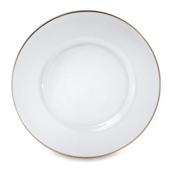 Jay Import Co. Inc. - Charge It by Jay! Platinum Rimmed 13-Inch Glass Charger Plate - Glass charger has a hand-painted platinum rim. A subtle yet elegant addition to your table setting.