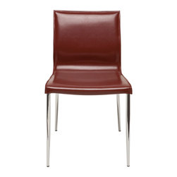Nuevo Living - Colter Steel Leg Dining Chair in Bordeaux Leather by Nuevo - HGAR395 - The Colter steel leg dining chair features bordeaux leather upholstery with CFS foam cushions and tone on tone stitching and edging. Available in 6 colors, the Colter is sure to match your needs.