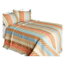 Blancho Bedding - Million Miles Cotton 3PC Vermicelli-Quilted Printed Quilt Set  Full/Queen - Set includes a quilt and two quilted shams (one in twin set). Shell and fill are 100% cotton. For convenience, all bedding components are machine washable on cold in the gentle cycle and can be dried on low heat and will last you years. Intricate vermicelli quilting provides a rich surface texture. This vermicelli-quilted quilt set will refresh your bedroom decor instantly, create a cozy and inviting atmosphere and is sure to transform the look of your bedroom or guest room. Dimensions: Full/Queen quilt: 90 inches x 98 inches  Standard sham: 20 inches x 26 inches.