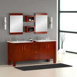 "72"" Double Sink Modern Bathroom Vanity - The Vienna 72"" solid wood bathroom vanity has a versatile style that fits into both traditional and contemporary bathroom settings. The two separate porcelain tops provide individuality and allow some space to show the beauty of the solid natural wood top. The beauty of this vanity lies in its simplicity, with straight lines and right angles. It is ideal for homeowners who want a clean and understated look for their bathroom remodeling. Shown in Mahogany finish."