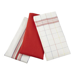 Le Creuset - Le Creuset Kitchen Towel, Set of 3 - This set of kitchen towels features one solid, one striped and one plaid towel, available in five different color palettes. Made of 100 percent cotton, these towels are ideal for drying dinnerware.