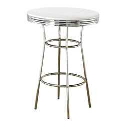 Adarn Inc. - Cleveland 50's Retro Design White Soda Fountain Chrome Accent Round Bar Table - Rewind time and create an entertaining dining experience with the retro designs of this 50's soda fountain bar table. The round is made with rippled chrome rim, and chrome single pedestal compose a distinctive look. Pair with the coordinating chrome plated pub chairs for a complete 1950's diner appeal! Assemble required. This listing is for 1 bar table only.