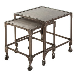 Industrial Steel Nesting Tables Set of 2 - Antique Nickel - These nesting tables are made from recycled cold-rolled steel. Inspired by industrial shelves, the pop rivet corner braces and casters make a strong statement.