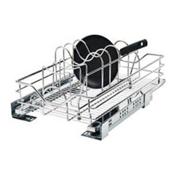 Rev-A-Shelf - Rev-A-Shelf Chrome Drop in Cookware Organizer Multicolor - R5789CR - Shop for Dish and Sink Racks from Hayneedle.com! The Rev-A-Shelf Chrome Drop in Cookware Organizer provides a perfect pairing for your new Rev-A-Shelf pull-out basket. This simple organizer attaches easily with the included rubber clips (no screws or other hardware required) and is intended for use with either the 15- or 21-inch basket. The wire separator is ideal for keeping pans pots and lids upright and organized maximizing your storage space. The piece is made from durable metal and comes with a chrome finish.About Rev-A-ShelfRev-A-Shelf a Jeffersontown Kentucky-based company has been dedicated to the creation of innovative useful residential cabinet storage and organization products since 1978. The company manufactures a wide variety of functional products such as lazy susans kitchen drawer organizers and childproof locking systems. A global market leader Rev-A-Shelf is known for its superior quality and versatility.