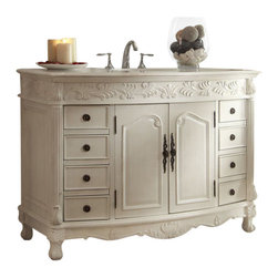 "Tennant Brand - 48"" Antique White Sumptuous Details, Florence Bathroom Sink Vanity #Q036W - Dimensions: 48 x 22 x 36""H."