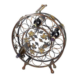 Aspire - Wine Rack with Grapes - This is a convenient and stylish way to store your favorite wines. This round rack holds up to twelve bottles. Metal grapes & leaves accent the center of the decor. Metal. Color/Finish: Antique brown. 28 in. H x 22 in. W x 5 in. D. Weight: 11 lbs.