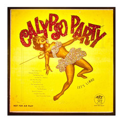 """Glittered Calypso Party Album - Glittered record album. Album is framed in a black 12x12"""" square frame with front and back cover and clips holding the record in place on the back. Album covers are original vintage covers."""
