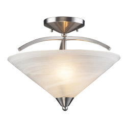 Elk Lighting - Elk Lighting 7633/2 Elysburg Contemporary Semi Flush Mount Ceiling Light - The Geometric Lines Of This Collection Offer Harmonious Symmetry With A Sophisticated Contemporary Appeal.  A Perfect Complement For Kitchens, Billiard Parlors, Or Any Area That Requires Direct Lighting.  Featured In Satin Nickel With White Marbleized Glass Or Aged Bronze Finish With Tea Stained Brown Swirl Glass.