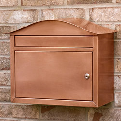 Kenton Locking Wall-Mount Copper Mailbox - Antique Copper - The incoming mail slot on the Kenton Locking Wall-Mount Copper Mailbox is large enough to accept magazines, DVDs and more. The lock ensures security.