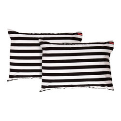 SWENYO - Black & White Horizontal Stripe Pillow Case Set - Same is lame. Our unique pillowcases will add color and personality to any space. Hand-selected by our team of designers, this contrasting pillowcase set has vibrant colors and an incredibly soft feel finished with our signature red SWENYO tag.