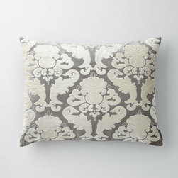 """Horchow - Standard Sham - Applique bed linens of silver and ivory velvet are as luxurious to the touch as they are to the eye. By Lili Alessandra. Imported. Velvet is viscose/cotton blend. European shams match duvet covers. Standard and king shams and 22""""Sq. accent pillow ma..."""