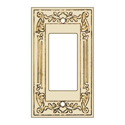 Renovators Supply - Switchplates Solid Brass Victorian GFI/Slide/Dim Switch Plate - A bright solid brass Victorian style GFI Rocker Switchplate.