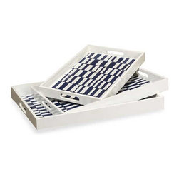 Interlude Home - Interlude Home Carillo Trays - These Interlude Home Trays are crafted from Wood and finished in Blue and White.  Overall sizes are: 19 in. W  x  15 in. D x 2 in. H.  17 in. W  x  13 in. D x  2 in. H.