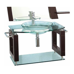 Renovators Supply - Console Sinks Glass/Stainless Console Sink Vanity Wall Mount - Vessel Sink Vanity: the Neo Deco wall mount tempered glass vessel sink package comes complete with faucet, drain, and p-trap. Installation instructions included.