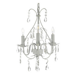 Wrought Iron Crystal Chandelier Lighting Country French White 3 Lights Ceiling - A great European tradition. Nothing is quite as elegant as the fine chandeliers that gave to beautiful evenings at palaces and manor houses across Europe. This beautiful chandelier from the Versailles Collection has 3 light and is decorated and draped with crystal. The frame is Wrought Iron, adding the finishing touch to a wonderful fixture. The timeless elegance of this chandelier is sure to lend a special atmosphere anywhere its placed!