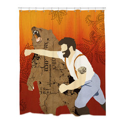 Sharp Shirter - Sharp Shirter Haymaker Shower Curtain - This curtain is printed in USA!. Hooks sold separately. Disclaimer: If you order multiple items, they may ship from separate locations.