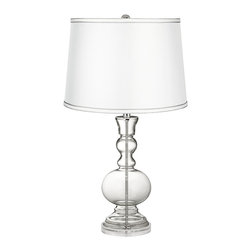 Color Plus - Clear Fillable - Satin Silver White Shade Table Lamp - This apothecary-style Clear Fillable designer glass table lamp features a stylish silver white satin drum shade. The apothecary style glass table lamp offers a wonderful style accent. The clear glass base can be filled with your favorite collectible - from seashells to glass beads, the possibilities are endless! The design features a clear lucite base and is topped with a stylish silver white satin drum shade. Lamp base U.S. Patent # 8,899,798.