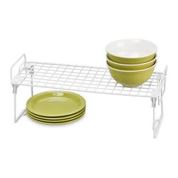 Honey Can Do - Kitchen Organizer 18 in. x 7 in. Wire Rack - Stack and link. Legs lock in place and link when stacked. Easy to clean. White PE coating. Slim design. Use in cabinets. Pantry. Or closets. Durable construction. Steel frame and lattice . 18 in. L x 7.25 in. W x 7.25 in. H (1.3125 lbs.)Honey-Can-Do KCH-01870 Lock and Link Stackable Cabinet Shelf, White. The slim, space-saving design is great for creating extra storage space in cabinets, pantries, or closets. Made with a durable steel frame and PE coating, it's sturdy, easy to clean, and will last for years.