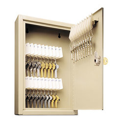 "MMF POS - Uni-Tag Key Cabinet, 30-Key, Steel, Sand, 8 X 2 5/8 X 12 1/8 - Help avoid wasted time and frustration by organizing your key sets. In these heavy-gauge, welded steel cabinets with piano-hinged doors, all keys are attached to numbered tags and filed securely on key rack slots. For convenience, whenever key is on loan, the ""Out Key"" control tag records key number, key recipient and date and is then filed under same slot for accountabilitya great, simple system. Additionally, the alphabetical and numerical lock location data charts assist in organization. For security, each cabinet has a locking door with a standard disc tumbler key lock with two keys. Key Capacity: 30; Material(s): Welded Steel; Color(s): Sand."