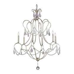 Kathy Kuo Home - Bellamere Hollywood Regency Amethyst Rock Crystal Silver 6 Light Chandelier - Antique silver and opulent crystal shimmer together in this romantic, regal chandelier. Curvaceous wrought iron creates an amethyst adorned, bell-shaped silhouette. Six candelabra lights reflect elegance and grace.