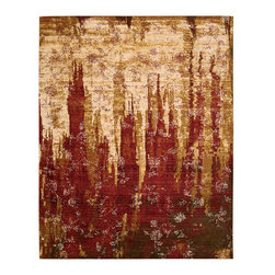 """Nourison - Nourison Rhapsody RH006 7'9"""" x 9'9"""" Gold Garnet Area Rug 18722 - Entice your imagination with this exciting abstract design. Like the spires of a city or the vista of an enchanted forest, it reaches fingers of brilliant color into a radiant sky. The foreground is filled with a scattering of blossoms that drift dreamily across the magical landscape."""