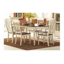 Homelegance - Ohana 5-Piece Rectangular Dining Set - Choose as many chairs as you like with this charming country style dining set. Extension dining table seats six comfortably with the included leaf. Solid wood top table has rounded ends with a smooth beveled edge, and the matching chairs feature an interesting woven double-X pattern. Distressed white and cherry veneer finish will brighten up any kitchen or casual dining space.