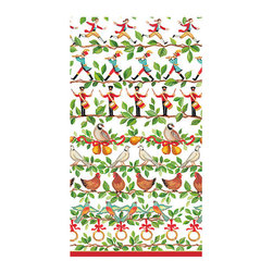 """Frontgate - Caspari 12 Days Guest Towels - Playful 12 Days of Christmas design. Ideal as guest towels or buffet napkins. Look of cloth yet disposable for easy clean-up. Each set contains 30 towels. Environmentally friendly biodegradable materials. Welcome holiday cheer with guest towels by Janine Moore designed after a classic holiday tune. The 12 days of Christmas adds a playful rendering to buffet tables and guest baths with a cast of characters sure to delight.  crafted of biodegradable, triple-ply tissue that is both ultra-absorbent and environmentally friendly. They have the look of cloth, yet can be tossed in the trash for quick and easy clean-up.  .  .  .  .  . Crafted of soft and absorbent triple-ply tissue . FSC certified pulp and water based dye materials . Measures 13"""" x 16"""" open . Imported"""