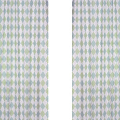 Argyle Blue & Green Window Panels (Set of 2)