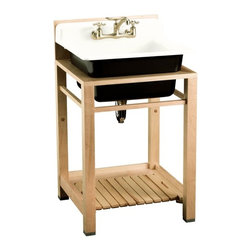 KOHLER - Kohler Bayview Wood Stand Utility Sink with Two-Hole Faucet Drilling - KOHLER K-6608-2P-0 Bayview Wood Stand Utility Sink with Two-Hole Faucet Drilling in Backsplash in White