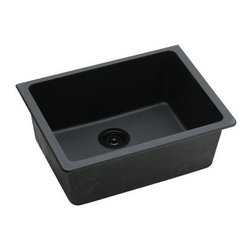 "Elkay - Elkay ELGU2522BK0 Black E-Granite Gourmet E-Granite 25""(L) x - Elkay Gourmet E-Granite 25""(L) x 18-1/2""(W) Single Basin Undermount Kitchen Sink Molded from Elkay E-Granite which is up to 85% natural quartz and high performance acrylic resins. E-Granite is non-porous and resists staining. E-Granite is hard enough to resist scratches and chips. The color is solid throughout the sink and is UV resistant to prevent color-fading in indoor applications. Universal mount sinks can be installed as a Top mount or undermount. Both types of clips are provided. Product Features:  Undermount Single basin sink e-Granit Naturally sound deadened Heat resistant  Product Specifications:  Installation Type: Undermount Material: E-Granite Number of Basins: 1 Minimum Cabinet Size: 30"" Sink Dimensions: 25"" L x 18-1/2"" W Bowl Depth: 9-1/2"" Bowl Dimensions: 22-3/8"" L x 16-3/8"" W x 9-1/2"" D Faucet Holes: 0 Drain Size: 3-1/2"" Ship Wt: 41 lbs  Product Certifications and Compliances:  ANSI/NSF61 - Certified ASME 112.18.1/CSA B125-01 IAPMO Listed"