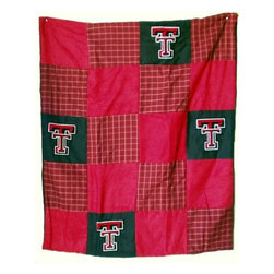 Traditions Art Glass Studios - Texas Tech University Quilt - -Large 50 x 60 Ultra suede patchwork quilt with chenille school logos  -Great for tailgating, keeping warm at games, or watching games on TV  -Machine washable. Traditions Art Glass Studios - TTECH805