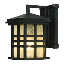 Joshua Marshal - One Light Black Clear Seeded Rectangle Glass Wall Lantern - One Light Black Clear Seeded Rectangle Glass Wall Lantern
