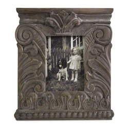 "IMAX - Large Hamlin Carved Wood Frame - Inspired by Greek Neoclassical architecture, the large Hamlin carved wood frame is an excellent accent to any of your favorite photos and looks great with any decor. Item Dimensions: (13""h x 12""w x 1.25"")"
