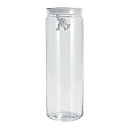 "Alessi - Alessi ""Gianni"" Kitchen Glass Box - Don't hold out. Add some fun to your kitchen storage. This 12-inch tall clear glass jar will hold pasta, cereal, rice and many other pantry staples — while the colorful little guy holds onto the airtight plastic lid for dear life."
