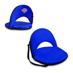 Picnic Time - New York Knicks Oniva Seat Recreational Reclining Seat in Navy - When you need a recreational reclining seat that's lightweight and portable, the Oniva Seat is for you. It has an adjustable shoulder strap and six adjustable positions for reclining. The seat cover is made of polyester, the frame is steel, and the seat is cushioned with high-density PU foam, which provides hours of comfortable sitting. The bottom of the seat is black so as not to soil easily. The Oniva Seat is great for the beach, the park, gaming and boating.; Decoration: Digital Print