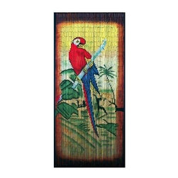 Bamboo54 - Bamboo Privacy Curtain with Painted Parrot in - Made of Bamboo. 80 in. L x 36 in. W (5 lbs.)