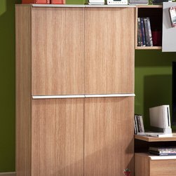 Modern Wood - Contemporary design meets industrial strength with this elegantly designed cabinet. Features wood finish and aluminum details.