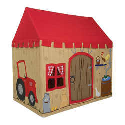 Wingreen - WinGreen Large Cotton Playhouse - Barn - We all love a day out on the farm!  This fun and colourful Barn playhouse is appliqued and embroidered with a big red tractor, cockerel, duck and ducklings, a farm cat and even a dung heap!  Complete with knots in the wood and finished with bright red gingham curtains.