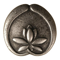 """Anne At Home - 1 1/4"""" Asian Lotus Flower Knob (Set of 10) (Weathered White) - Finish: Weathered White. Hand cast and finished. Made in the USA. Pewter with brass insert. Collection: Asian. 1.25 in. L x 1.25 in. W x 0.75 in. H"""