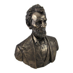 Bronzed Abraham Lincoln Bust Statue 20 Inch - This impressive bust is a great gift for the history buff. The impressive detail is created with a brushed texture that gives the impression of a hand-carved statue.